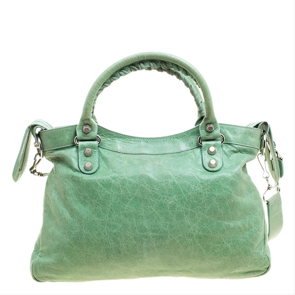 Shoulder Town Green Bag Balenciaga Sea Leather and Fabric wzqERY5px