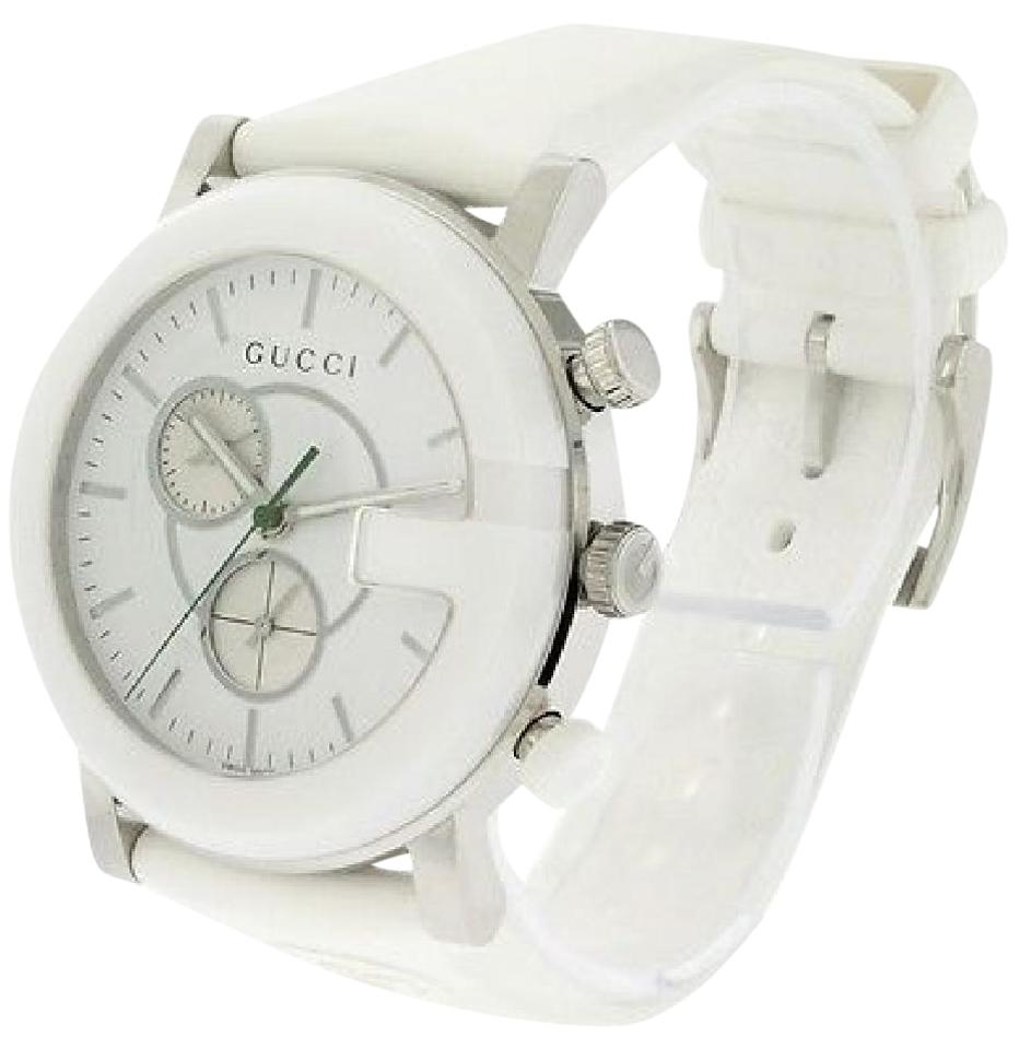 f2d9ca1b54d Gucci Gucci YA101346 The G Round White Quartz Watch Image 0 ...