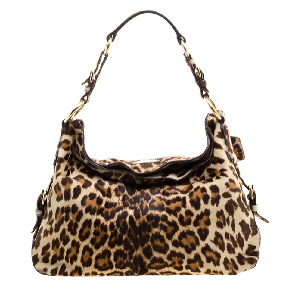 f17c01fc9569 Prada Leopard Print Calf Hair Brown Nylon Hobo Bag - Tradesy