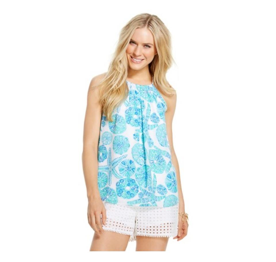 161da810b49 Lilly Pulitzer Sea Urchin For You Target Women's Halter - Small S Blue  White Blouse