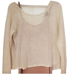 White House | Black Market Summer Weight Cowl Layered Two Piece Top Beige/Peach
