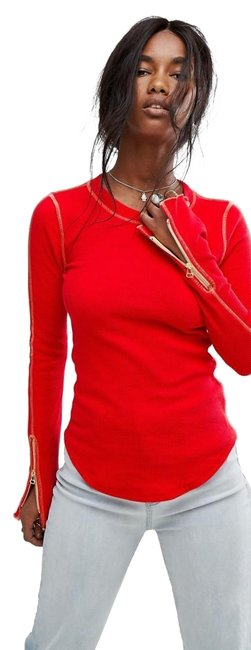 Item - Red Zip It Cuff Thermal Tee Shirt Size 4 (S)