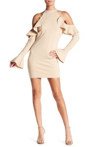 Free People Cold Shoulder Ruffle Longsleeve Cut-out Mock Neck Dress