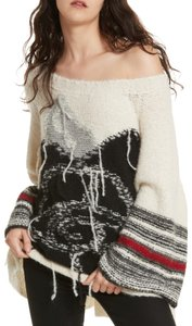 Free People Longsleeve Knit Fringe Hem Oversized Apaca Sweater
