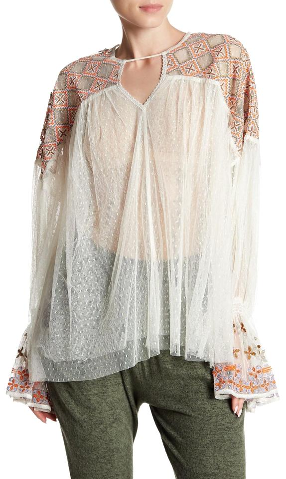 d54a26a1 Free People Tulle Embroidered Longsleeve V-neck Sheer Top ivory combo Image  0 ...