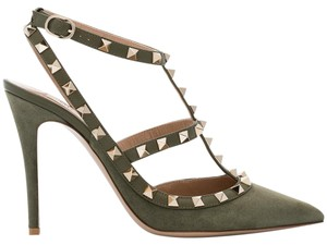 Valentino Rockstud Studded Stiletto Suede Classic green Pumps