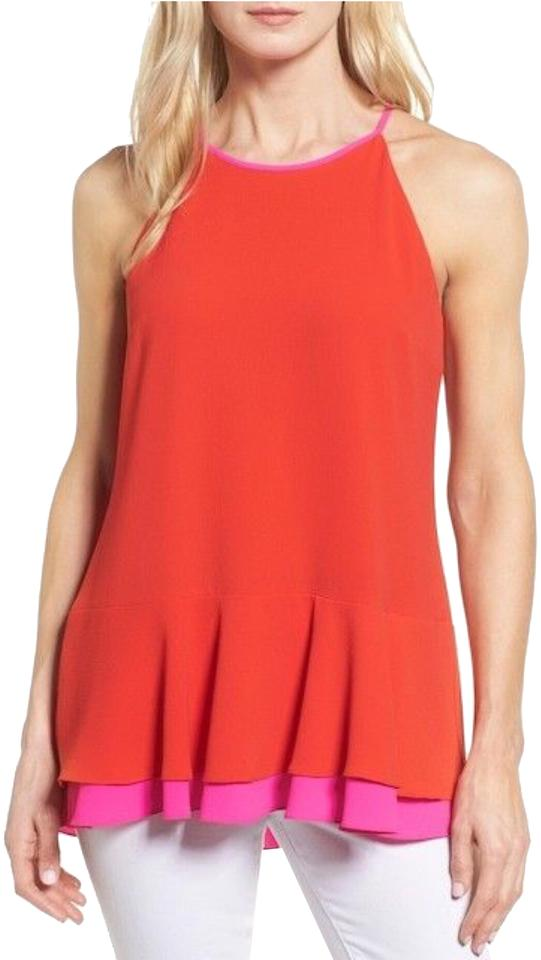 6541ce8d0bb265 Vince Camuto Red Sleeveless Ruffle Blouse Size 8 (M) - Tradesy