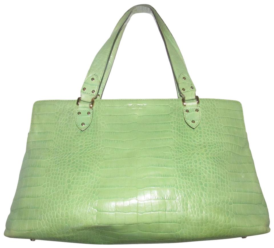 Kate Spade Mint Condition Size Perfect Pop Of Color Great Satchel In Lime Green Crocodile