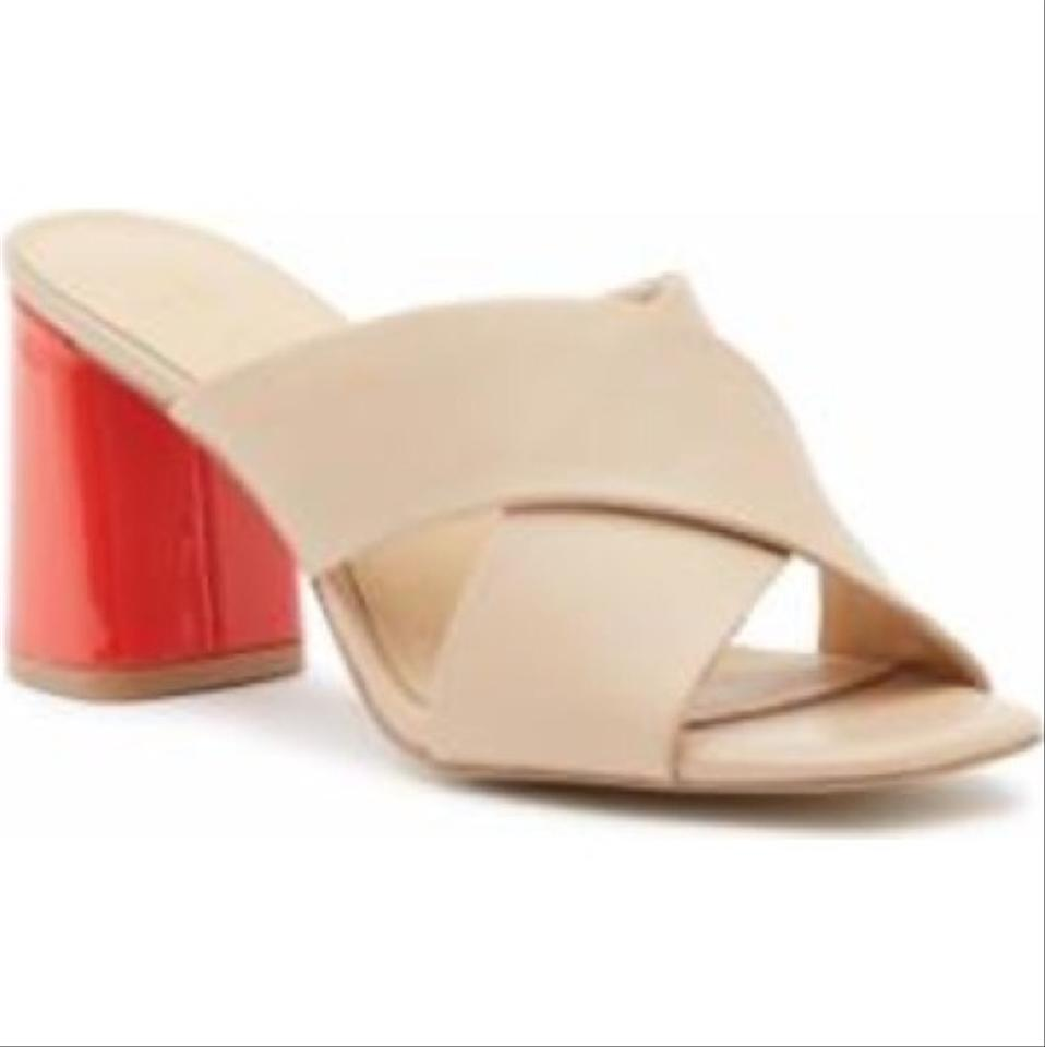 5911bc0a9e0b Kate Spade Nude with Red Block Heel Silene Criss-cross Mules Slides ...