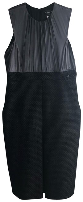 Chanel Black W 9/10 Condition Silk Tweed Sheer Shift A-line W/ 2 Pockets Mid-length Short Casual Dress Size 12 (L) Chanel Black W 9/10 Condition Silk Tweed Sheer Shift A-line W/ 2 Pockets Mid-length Short Casual Dress Size 12 (L) Image 1