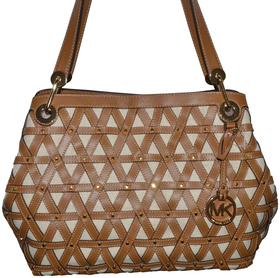 a2b0ab4bcd04 Michael Kors Raven Natural Acorn Brown Leather Fabric Shoulder Bag ...