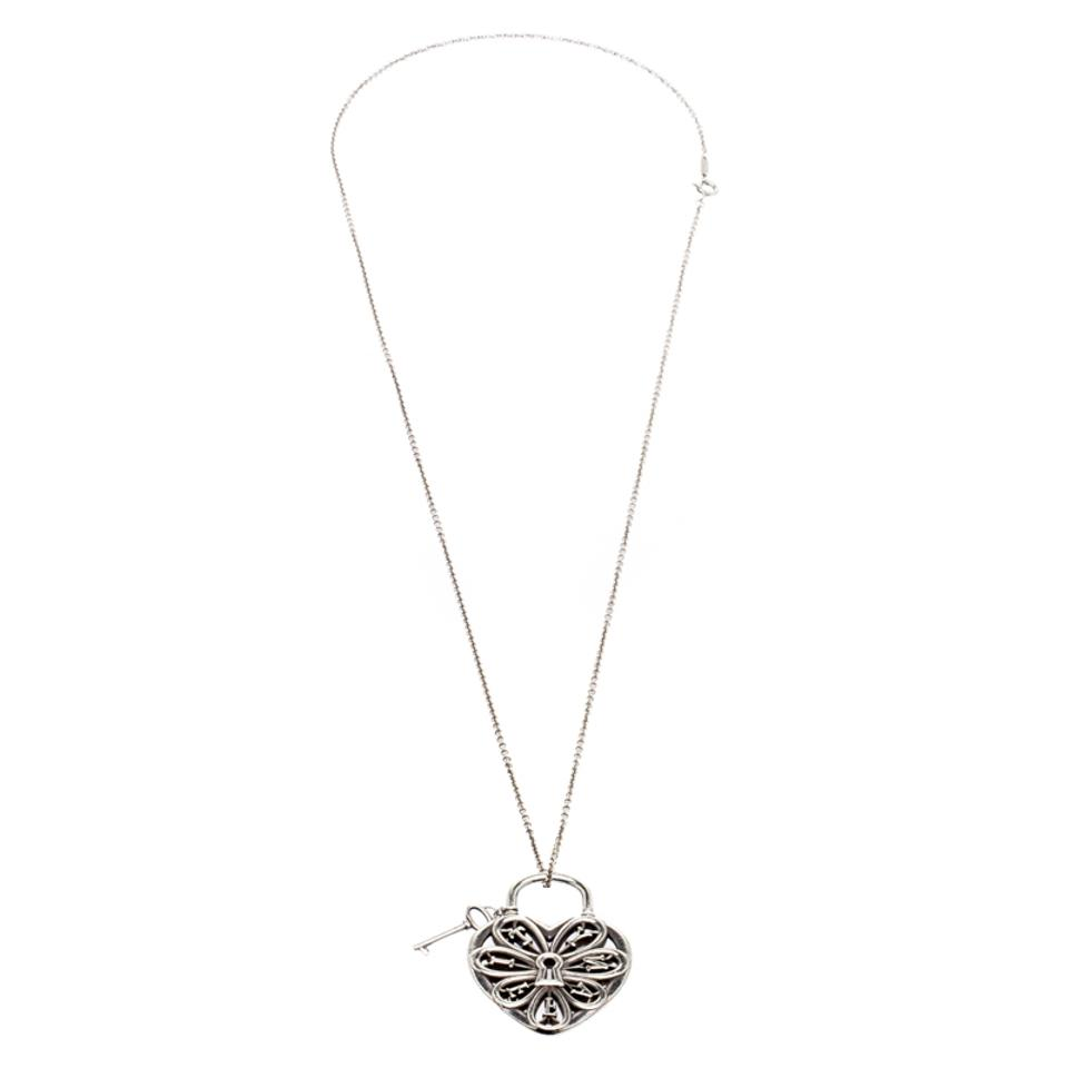Tiffany co silver filigree heart pendant with chain necklace tiffany co filigree heart pendant with key silver chain necklace aloadofball Image collections