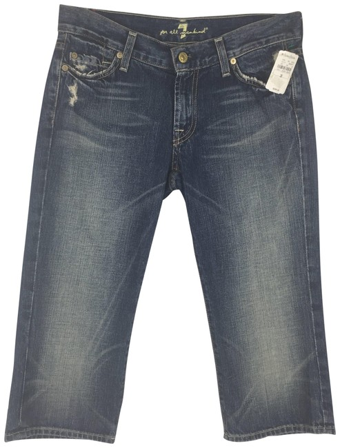 Item - Blue Distressed Low Rise Crop Bootcut Capri/Cropped Jeans Size 28 (4, S)