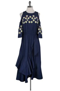 blue Maxi Dress by Other Peter Pilotto Denim Cold Shoulder Embroidered Maxi