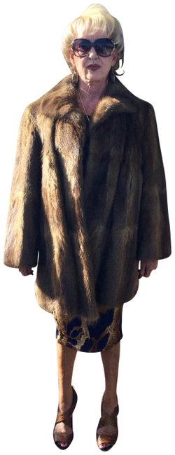 Item - Brown Silky Long Hair Muskrat Jacket From Germany Great Gift Coat Size 12 (L)
