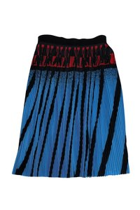 Alexander Wang Black Red Pleated Skirt Blue