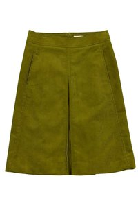 Tory Burch Pleated Corduroy Skirt green