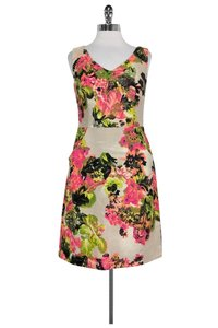 Kay Unger short dress Tan Floral Cotton on Tradesy