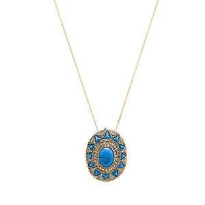 "House of Harlow 1960 Turquoise & Gold ""Wari Ruins"" Necklace"