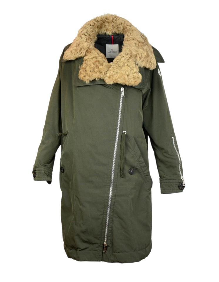 803451b8941 Moncler Green Olive Aucuba Shearling   Twill Oversized Down 4 Coat ...