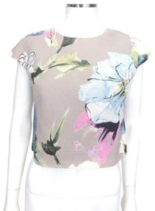 MILLY Top Taupe w/Multi-color Floral pattern
