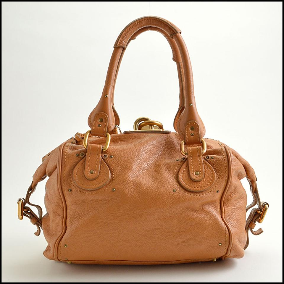fee5a6ae48d Chloé Paddington Front Pocket Padlock Satchel Tan Leather Hobo Bag ...