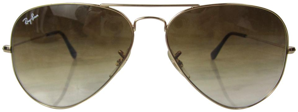 91a98d2ed1 Ray-Ban Brown Rb3025 001 51 Gradient   Gold Large Metal Aviator Sunglasses