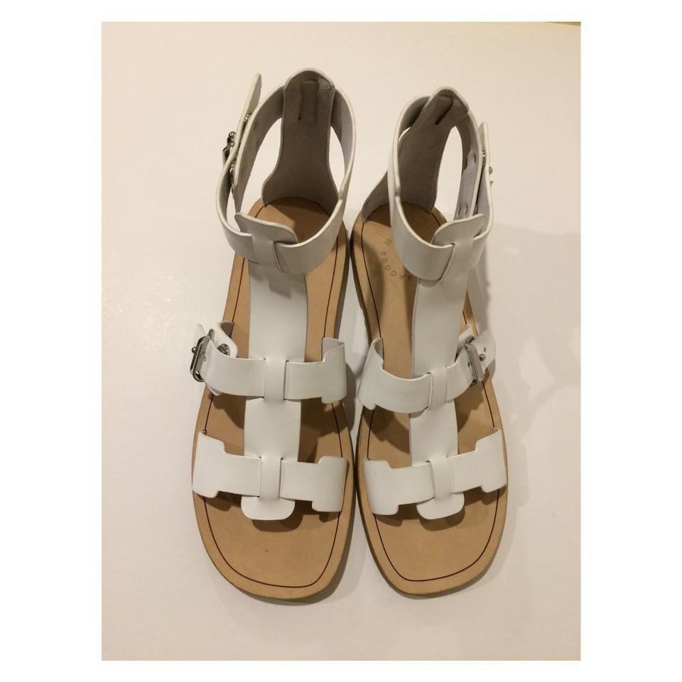 55b4caab9 Marc by Marc Jacobs White New Talc Buckle Strap Gladiator Leather Sandals