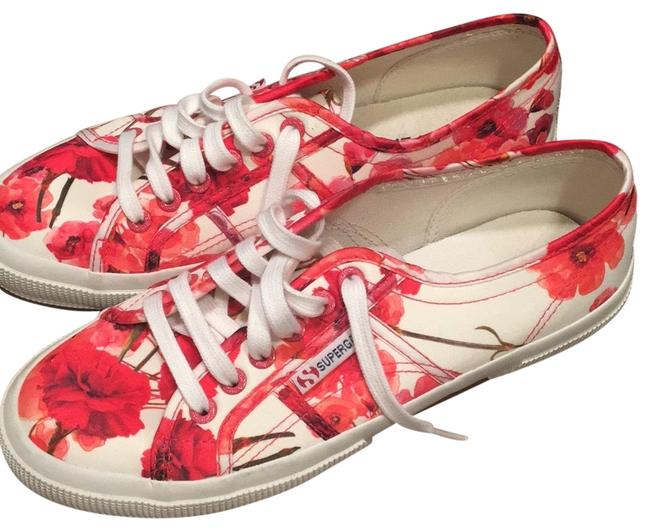 Item - Ivory with Pink and Red Flowers Floral Sneakers Size EU 39 (Approx. US 9) Regular (M, B)