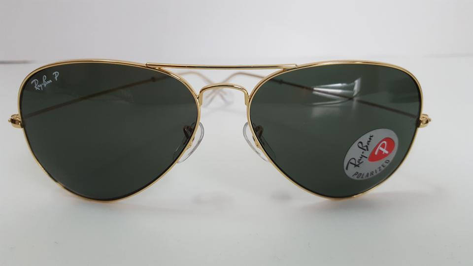 378277779e Ray-Ban Gold Classic Green Rb3025 001 58 Aviator Polarized Sunglasses -  Tradesy