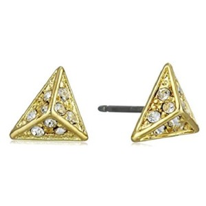 """Rebecca Minkoff Gold & Pave """"Caged"""" Pyramid Earrings"""