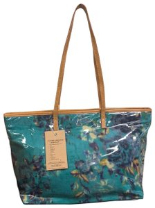 Clever Carriage Company Leather Studded Bottom Tote in Sea Green