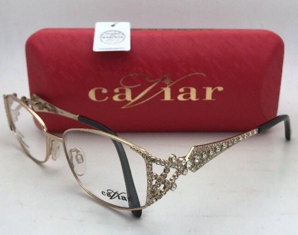 663623cec4 Caviar Eyewear New Unique M 5607 C.21 55-16 Gold   Black Frames with  Crystals Sunglasses