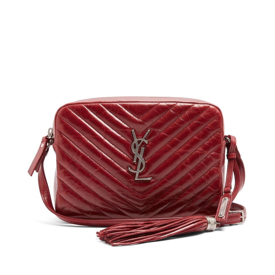 Saint Laurent Camera Lou Quilted Ysl Monogram Red Burgundy Leather Cross  Body Bag e099ac7720c5d