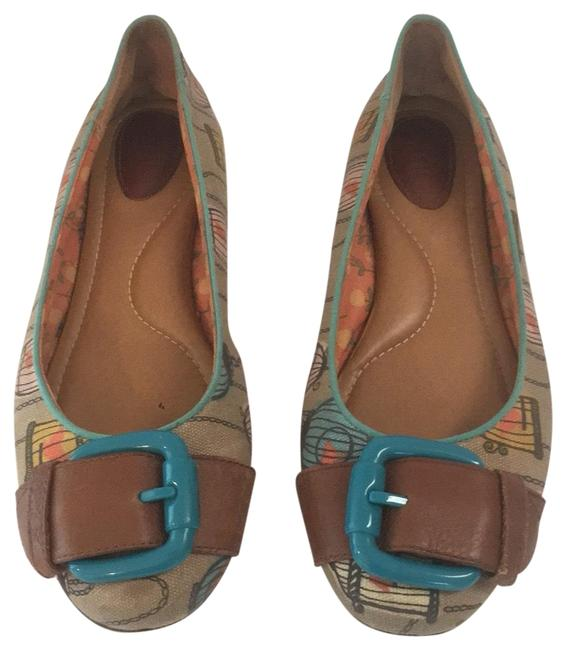 Item - Brown/Teal Birdcage Print Buckle Canvas Leather Flats Size US 8 Regular (M, B)
