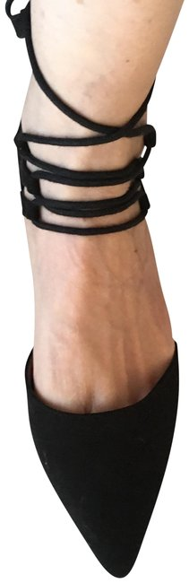 Item - Black Suede Gladiator Flats Size US 7 Regular (M, B)