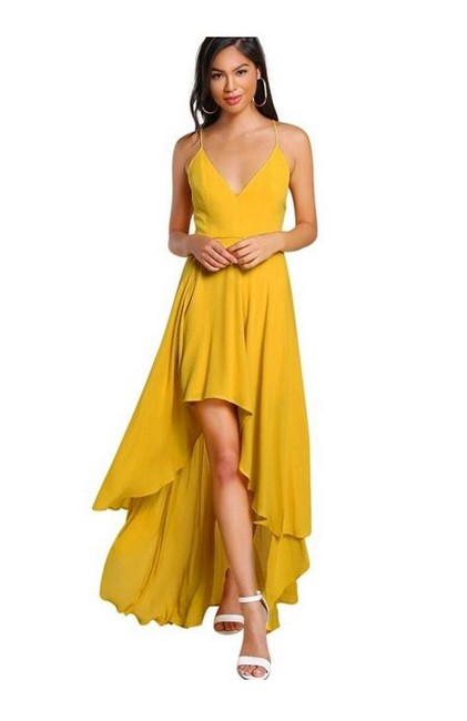 Item - Yellow Backless High Low Cami Long Casual Maxi Dress Size 8 (M)