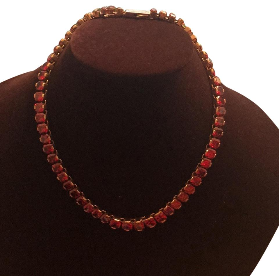 7b6cee5d3304d Henri Bendel Ruby Red with Rose Gold Setting Acsher Diamond Cut Chrystal  Collar Necklace 73% off retail