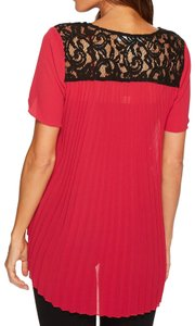 MICHAEL Michael Kors Lace Pleats Lacy Pleated Top red
