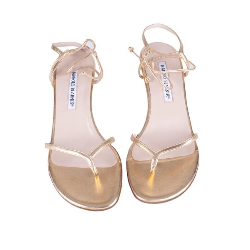 3e2b1ab4645 Manolo Blahnik Gold Leather Ankle Strap Kitten Heels Sandals Size EU 38.5  (Approx. US 8.5) Regular (M, B) 77% off retail