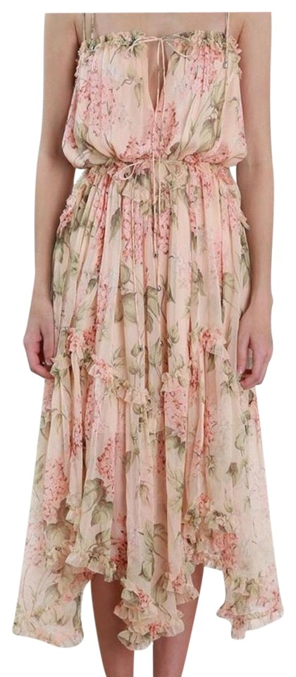 ZIMMERMANN Maxi Pink Floating Casual Hydrangea and Dress Peach wAwp47