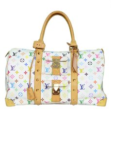 Louis Vuitton Keepall Duffle Monogram Carry On white Travel Bag