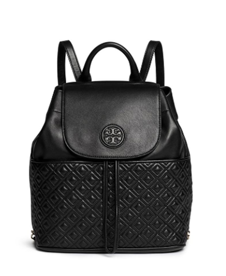 Tory Leather Burch Marion Black Backpack Quilted PUPYH