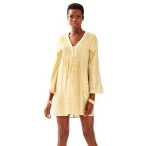 81d2d3b5dcc1fc Lilly Pulitzer Gold Colby Silk Tunic Short Cocktail Dress Size 8 (M ...