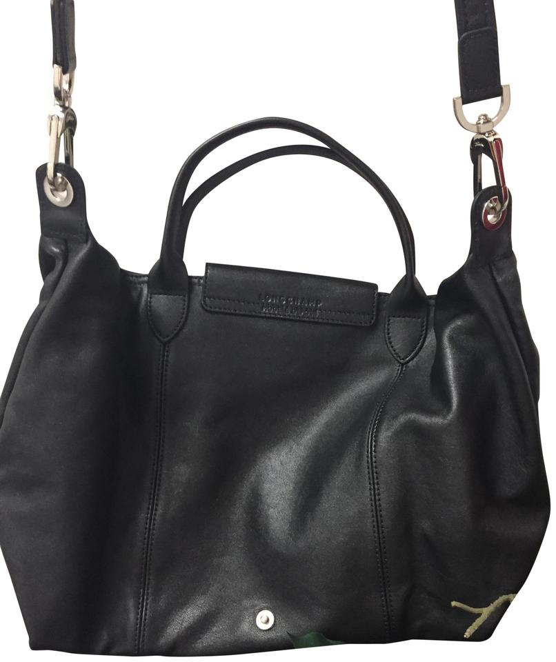 Bag Black Longchamp Leather Black Longchamp Shoulder qUng8CxRw