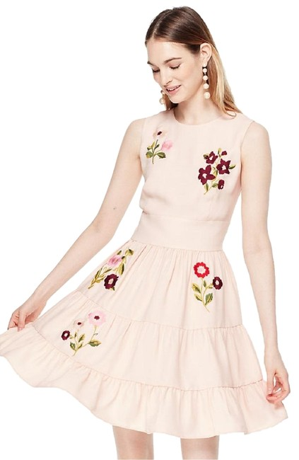 Item - Pink Floral Embroidered Mid-length Work/Office Dress Size 6 (S)