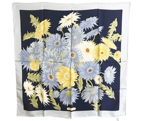 Salvatore Ferragamo Salvatore Ferragamo Brand New Navy Blue Yellow Flower Scarf
