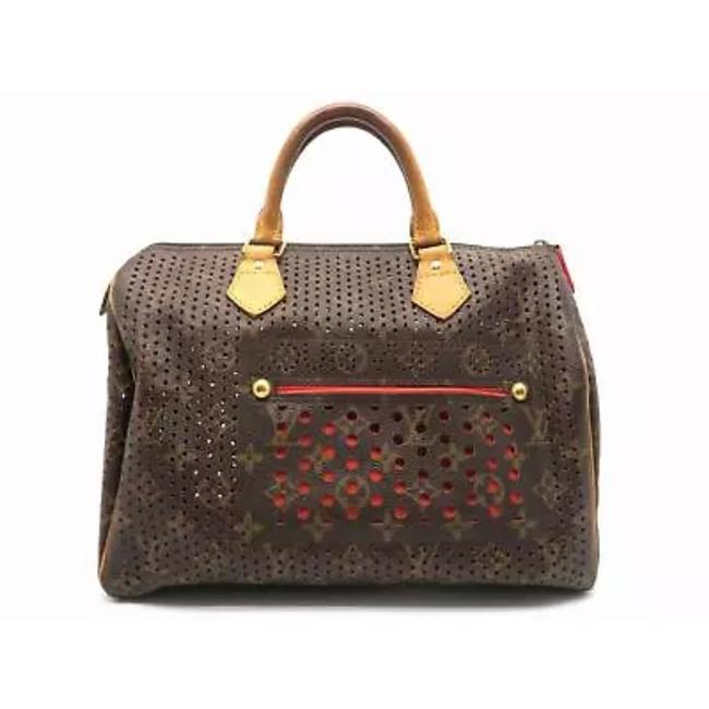 Item - Speedy Limited Edition Perforated Rare Doctor Monogram Orange Perfo Canvas Satchel