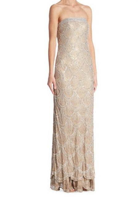 Item - Taupe Silver Boustieau Beaded Silk Gown Long Formal Dress Size 12 (L)