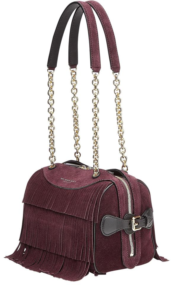 6bbb16db05e4 Burberry Prorsum Mini Bee Fringed Burgundy Suede Leather Shoulder ...